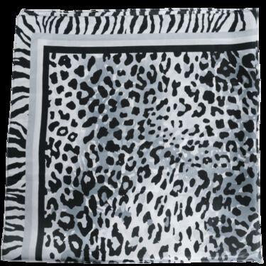 Vintage Silk Print Scarf - Black/White Leopard
