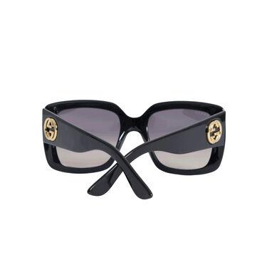 Gucci Women's Urban Collection Black/Gold Square Sunglasses