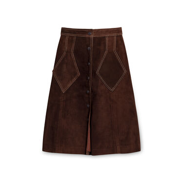 Vintage Suede Leather Top and Skirt