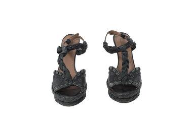 ALAIA Paris Braided Platform Leather Heel
