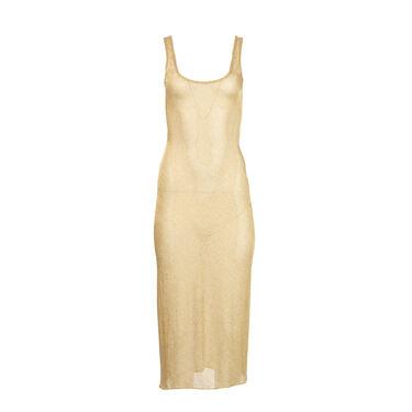 Priscavera Low Back Gold Dress