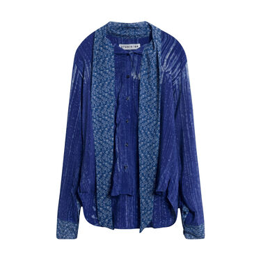 Studio 189 Navy Brush Silk Amy Long Wrap Sleeve Scarf Shirt