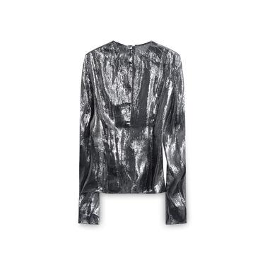 Lemair Metallic Silk Long Sleeve Top