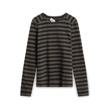 Ganni Olive and Dark Grey Striped Long-sleeve