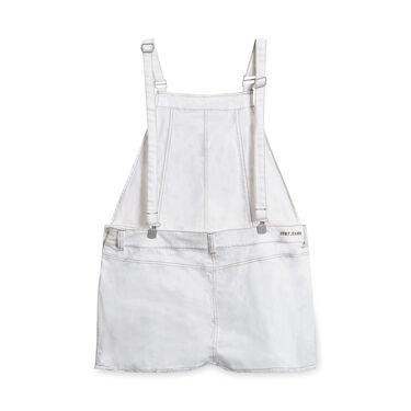 DKNY Denim Overall Shorts - White
