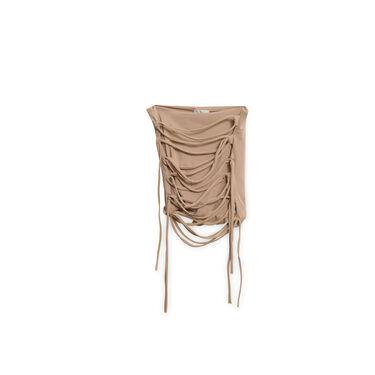 Camel Wrap Mini Skirt