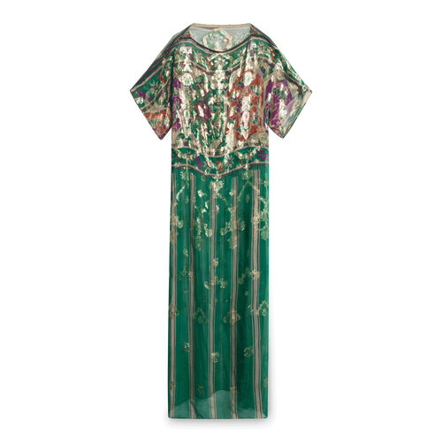 Vintage Gold Green Sheer Dress with Beading