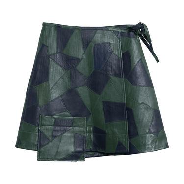 Ganni Patechwork Leather Wrap Skirt