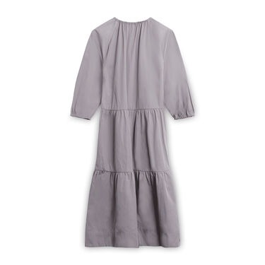 Vintage InWear Smock Dress with Elastic Neckline - Grey