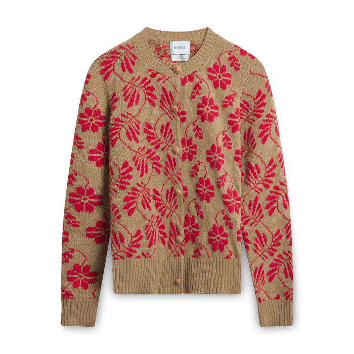 Barrie Floral Round Neck Cardigan - Brown