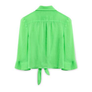 IZ Amy Byer Neon Green Tie-up Shirt