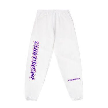 Club Fantasy Caged Logo Sweatpants in White