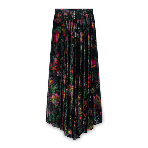 Paco Rabanne Floral Midi Skirt with Button Studs - Black
