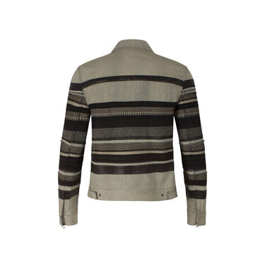 3.1 Phillip Lim Denim Jacket with Black Embroidery & Leather Stripes