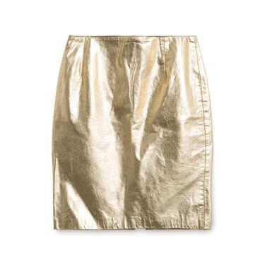 Kenar Leather Gold Skirt
