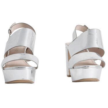 Monk Metallic Platform Heeled Sandals - Silver