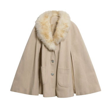 Vintage Cape with Faux Shearling Collar
