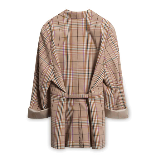 Maison Kitsune Tailored Plaid Coat - Brown