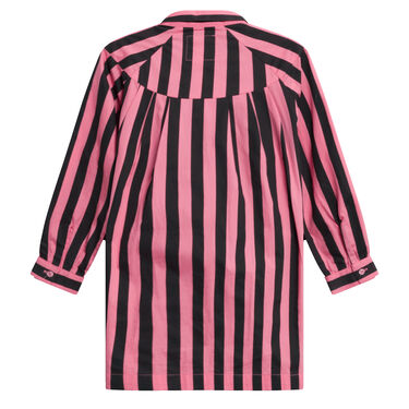 Hugo Loves Tiki Bow Dress Pink Black Stripes