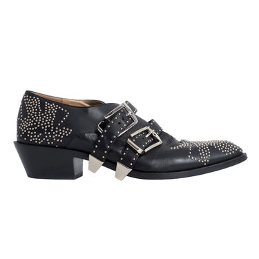 Chloe Susanna Embellished Studded Ankle Booties Loafers Black Leather