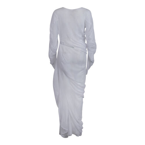 Yuhan Wang White Mesh Cut-Out Dress