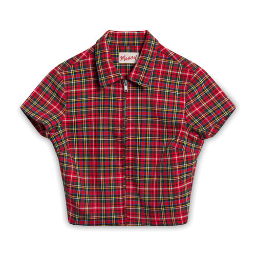 Miaou Plaid Crop Top - Red