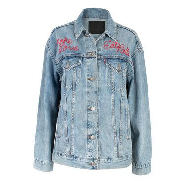 "Levi's ""Make Love, Eat Pasta"" Embroidered Trucker Jacket"