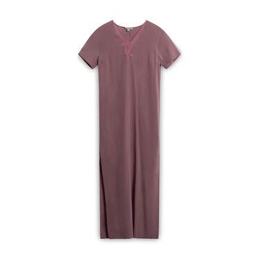 COS Silk Straight Silhouette V-Neck Dress - Purple