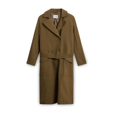 Lacoste Trench Coat with Belt - Brown