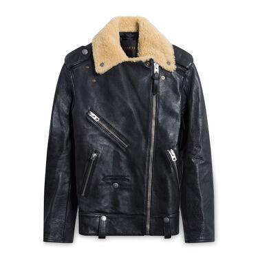 Coach Leather Shearling Moto Jacket - Black