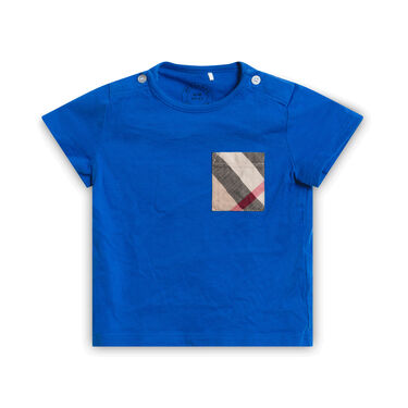 Blue T-Shirt with Patchwork Pocket