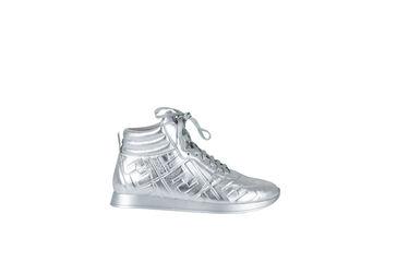 FENDI Nappa Silver Leather High Top