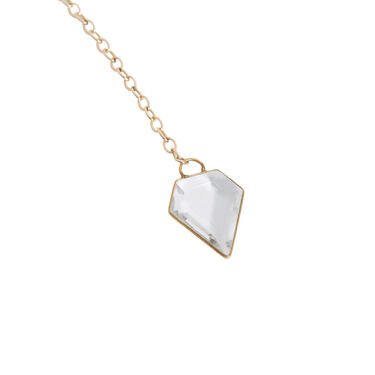 Meredith Kahn Gold Chain Necklace with Crystal Pendant