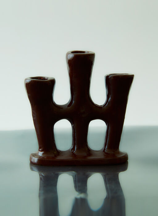 Triple Stem Candle Holder in Brown
