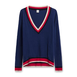 Pinko Ribbed Sweater with Striped Collar and Waist - Navy