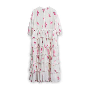 GANNI Rose Print Pleated Georgette Midi Dress