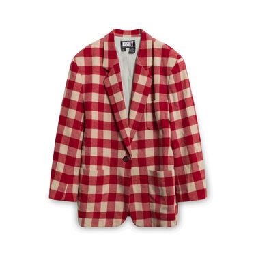 DKNY Red Checkered Blazer and Skirt