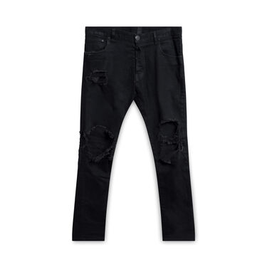 En Noir Distressed Black Jeans