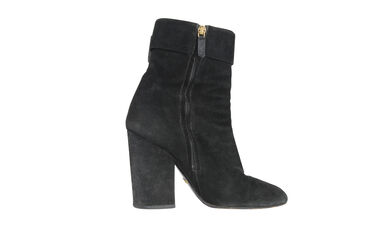 Gucci Black Suede Gold Buckle Ankle Boots