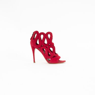Alaia Lacey Design Suede Cutout Booties