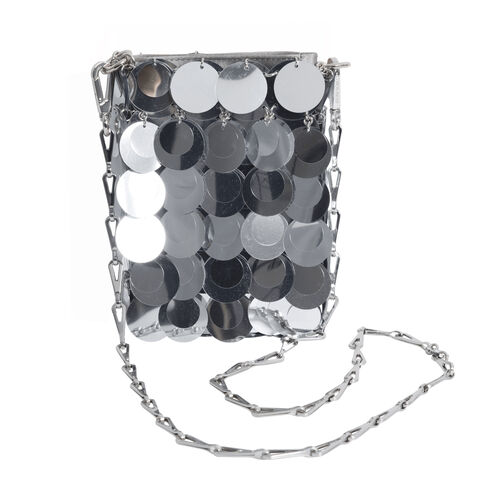 Paco Rabanne 1969 Iconic Sparkle Sequin Crossbody Bag - Silver