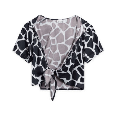 Rampage Cow-Patterned Tie-up Shirt