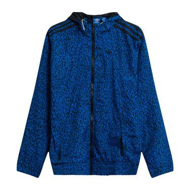 Adidas Leopard Hooded Windbreaker in Blue