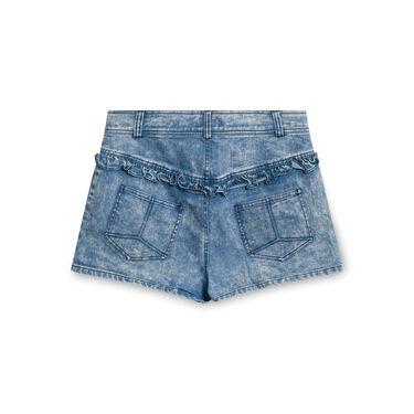 Zimmerman Denim Shorts with Ruffle Pockets - Blue