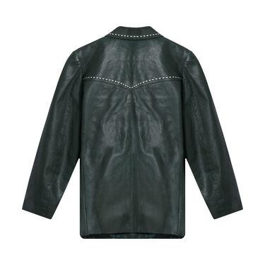 Vintage Green Leather Blazer