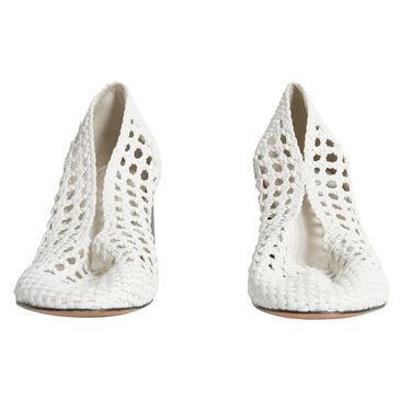 Sandro Leather-Woven Block Heel - White