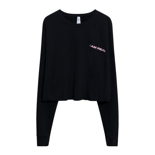 I Am Real Cropped Sweatshirt in Black