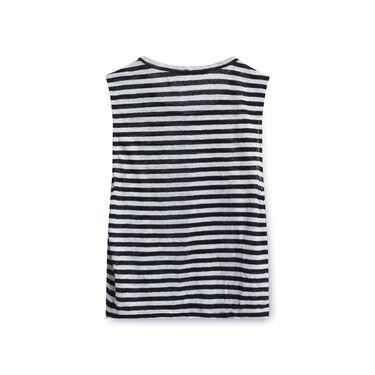 A.L.C. Women's Hanover Stripe Linen Cutout Tank - Black/White