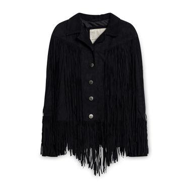 Vintage Denim & Supply Ralph Lauren Fringed Suede Jacket - Black
