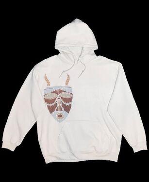 Tribal Mask Hoodie - White